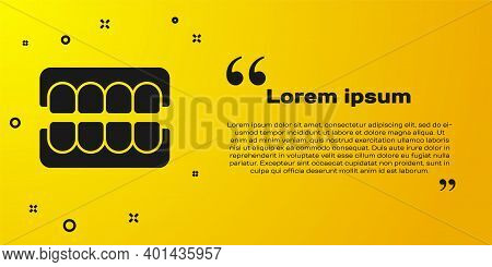 Black False Jaw Icon Isolated On Yellow Background. Dental Jaw Or Dentures, False Teeth With Incisor