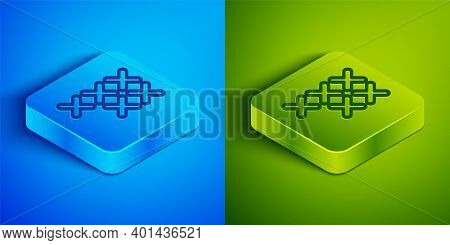Isometric Line Adjustable Embroidery Hoop Icon Isolated On Blue And Green Background. Thread And Nee