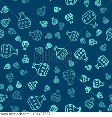 Green Line Tequila Bottle Icon Isolated Seamless Pattern On Blue Background. Mexican Alcohol Drink.