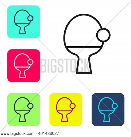 Black Line Racket For Playing Table Tennis Icon Isolated On White Background. Set Icons In Color Squ