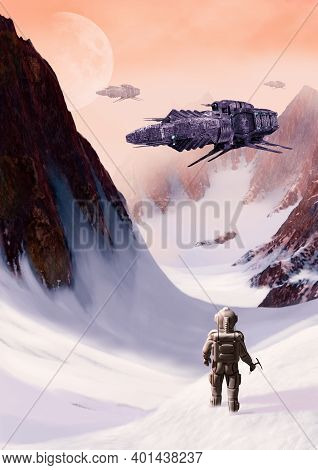 Futuristic Scifi Space Ships Hovering Over An Icy Alien Planet, 3d Render.