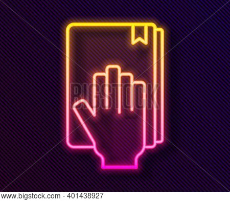 Glowing Neon Line Oath On The Holy Bible Icon Isolated On Black Background. The Procedure In Court.