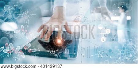 Abstract Futuristic Technology Background. People Working In Technology Lab. High Tech Technology Ge