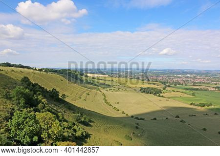 Aerial View Of The Hills Above Westbury In Wiltshire