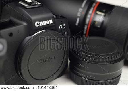 Kharkov, Ukraine - November 23, 2020: Canon Eos R Photocamera And Mount Adapter Ef - Eos R With Cano