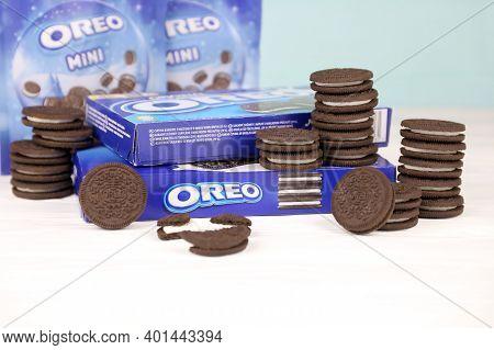 Kharkov, Ukraine - November 24, 2020: Oreo Sandwich Cookies And Blue Product Boxes On White Table. O