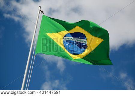 Flag Of Brazil On Flagpole