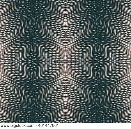 Ornamental Horizontal Monochrome Abstract Vector Texture Of Wave Lines In Trendy Grey Halftones With