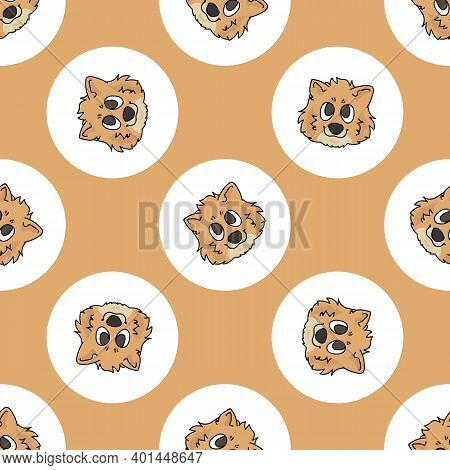 Hand Drawn Cute Pomeranian Dog Face Breed In Polka Dot Seamless Vector Pattern. Purebread Pedigree P