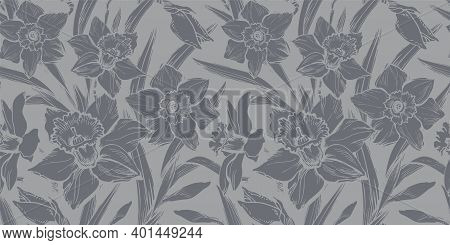 Closeup Gray Daffodil Seamless Pattern Drawn By Hand On Grey Background. Floral Ornate Monochrome Sp