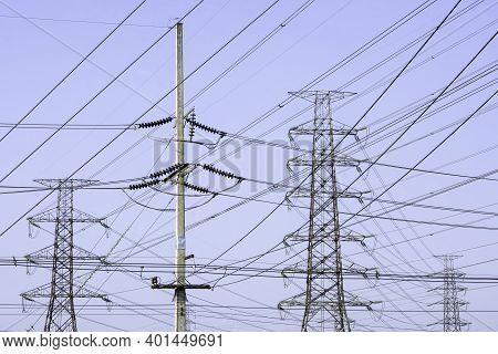 Electricity Transmission Line On White Background, Transmission Line Of Electricity To Rural, High V