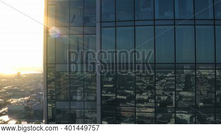 Aerial View Of Skyscraper Office Building With Panoramic Windows. Stock Footage. Corporate Building