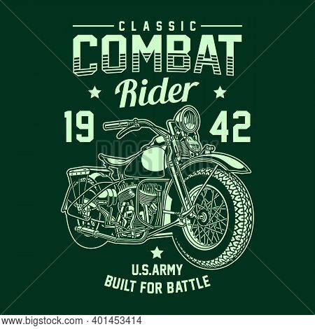 Vintage American Military Motorcycle Vector Graphic, Military Motorcycle Graphic T-shirt
