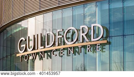 Surrey, British Columbia, Canada - December 23, 2020: Signage At The Entrance Of Guildford Town Cent