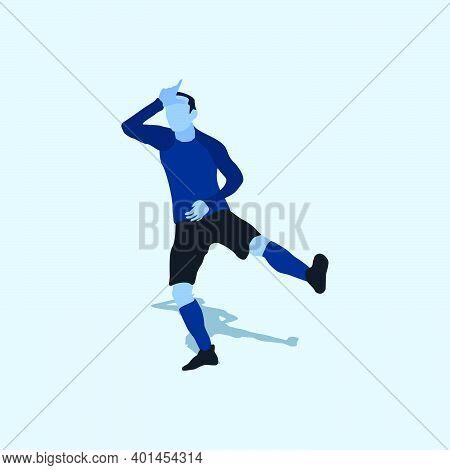 Take The L Celebration - Two Tone Illustration Soccer Goal Celebration - Shot, Dribble, Celebration