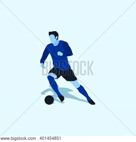 Two Tone Flat Illustration - Smooth Dribble In Soccer - Shot, Dribble, Celebration And Move In Socce