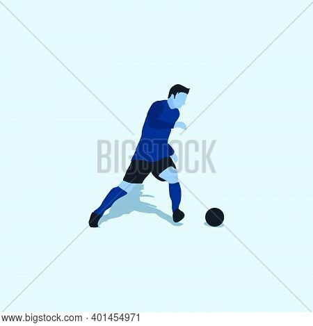 Left Footed Fast Dribbling - Two Tone Illustration - Shot, Dribble, Celebration And Move In Soccer