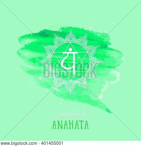 Vector Illustration With Symbol Chakra Anahata On Watercolor Background. Circle Mandala Pattern And