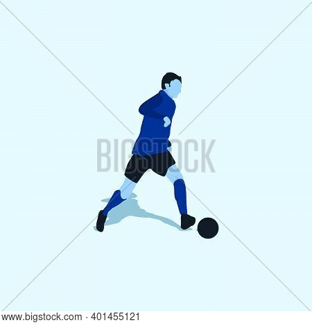 Left Footed Smooth Dribbling - Two Tone Illustration - Shot, Dribble, Celebration And Move In Soccer