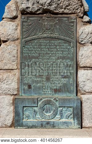 Windhoek, Namibia - June 09, 2012: Plaque At The Reiterdenkmal In Windhoek In Namibia
