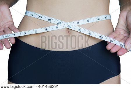 Close Up Slim Fit Woman In  Waist Tape Measure With Bikini For Slimming Woman In Panties Or  Weight