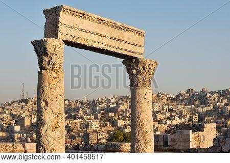 Amman Citadel Ruins At Sunset, Jordan. The Amman Citadel Is A Historical Site At The Center Of Downt
