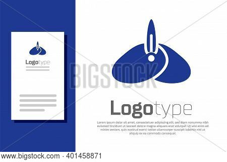 Blue Indian Headgear Turban With Feather Icon Isolated On White Background. Logo Design Template Ele