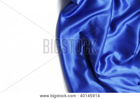 blue silk background close up isolated