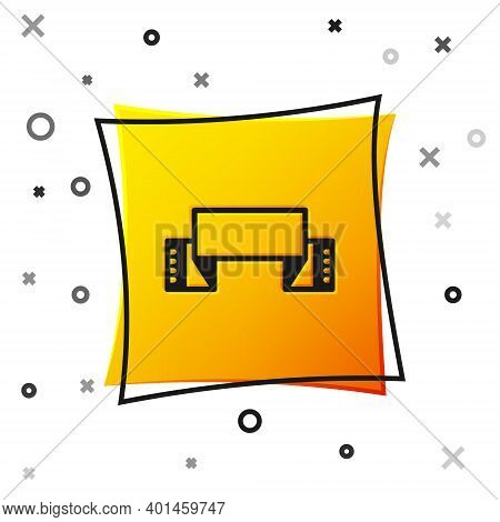 Black Traditional Ukrainian Embroidered Towel Icon Isolated On White Background. Yellow Square Butto