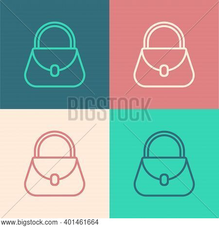 Pop Art Line Handbag Icon Isolated On Color Background. Female Handbag Sign. Glamour Casual Baggage