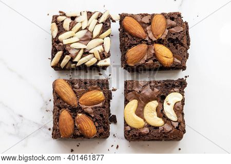 Dessert Snack Brownies Arrangement Flat Lay Style On Background White