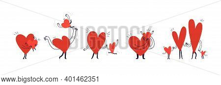 Set Of Cartoon Family Hearts. Doodle Style Pastime For Happy Parents And Their Children. Collection