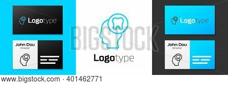 Blue Line Human Head With Tooth Icon Isolated On White Background. Tooth Symbol For Dentistry Clinic