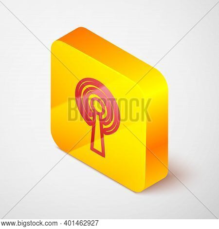 Isometric Line Antenna Icon Isolated On Grey Background. Radio Antenna Wireless. Technology And Netw