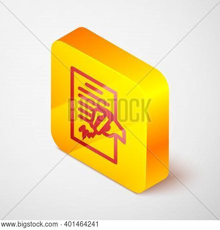 Isometric Line Petition Icon Isolated On Grey Background. Yellow Square Button. Vector