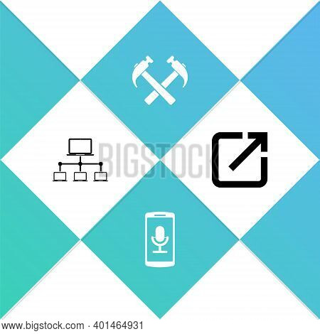 Set Computer Network, Mobile Recording, Two Crossed Hammers And Open New Window Icon. Vector