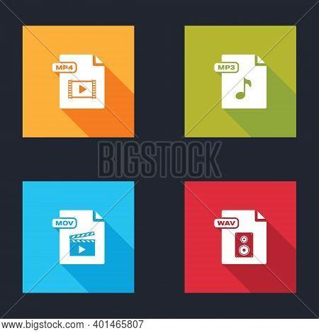 Set Mp4 File Document, Mp3, Mov And Wav Icon. Vector