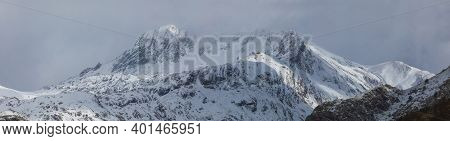 Panoramic Landscape Of Snowy Mountains In The Aragonese Pyrenees. Selva De Oza Valley, Hecho And Ans