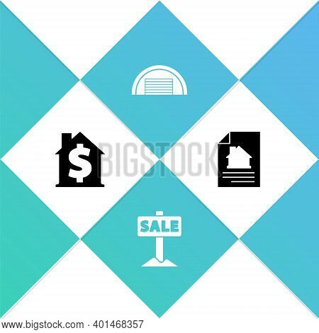 Set House With Dollar Symbol, Hanging Sign Sale, Garage And Contract Icon. Vector