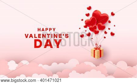 Romantic Minimal Greeting Card With Surprise Gift Flying Box And Air Heart Shaped Balloon Elements I
