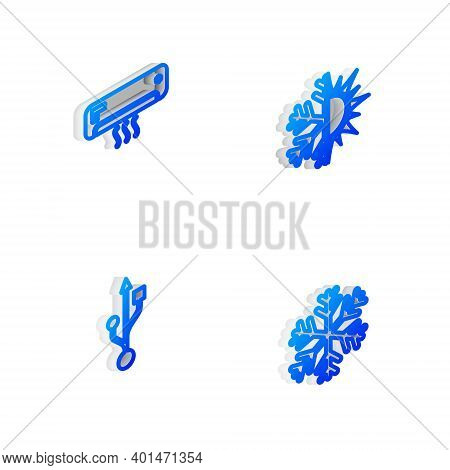 Set Isometric Line Sun And Snowflake, Air Conditioner, Usb And Snowflake Icon. Vector