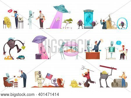 Alien Ufo Set With Isolated Icons Of Extraterrestrial Flying Vehicles Robots And Humanoids With Huma