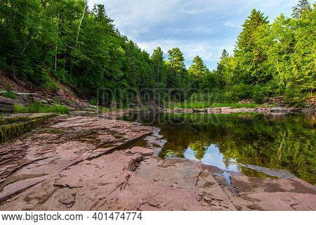 Forest River Landscape. Boreal Forest Wilderness Scene And River On The Prickett River In The Upper