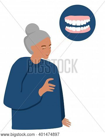 Old Woman With False Jaw. Dental Clinic Advertising. Orthodontics And Oral Surgery. Crown And Veneer