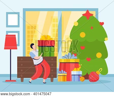 Merry Christmas And Happy New Year Composition With Indoor View Of Living Room With Gift Boxes Vecto