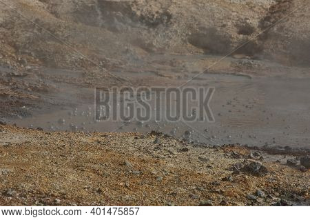 A Close-up Of A Mud Pot In Seltun Geothermal Area Of Krysuvik In South Iceland