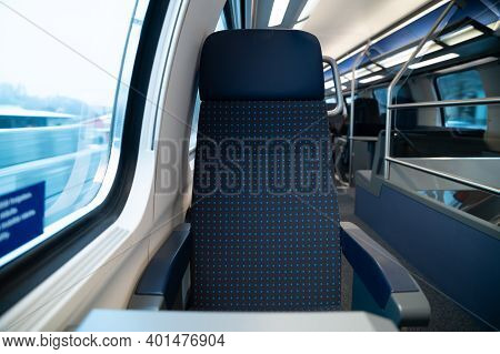 Swiss Train Window Seat Second Class Cabin Public Transit Switzerland Passenger Railway Network