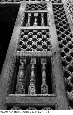 Black And White Angle View Of Wooden Carved Decorations Of Interleaved Wooden Door - Mashrabiya - In