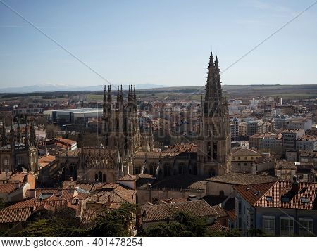 Panoramic View Of Cathedral Of Saint Mary Of Burgos Catholic Church In Old Town Historic City Center