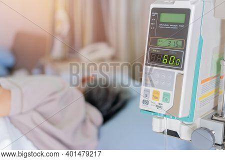 Bangkok, Thailand -december,23 2019 : Infusion Pump Infuses Fluids Medical Drip Intravenous Needle S